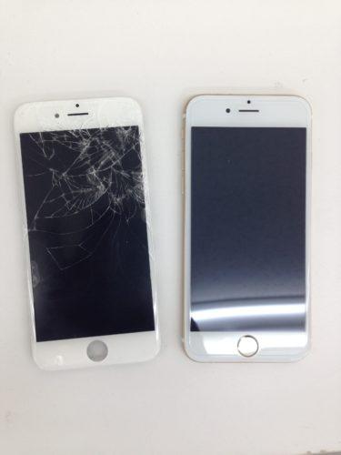iPhone6s画面交換ビフォーアフター