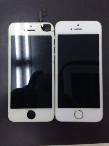 iPhone5s画面交換ビフォーアフター