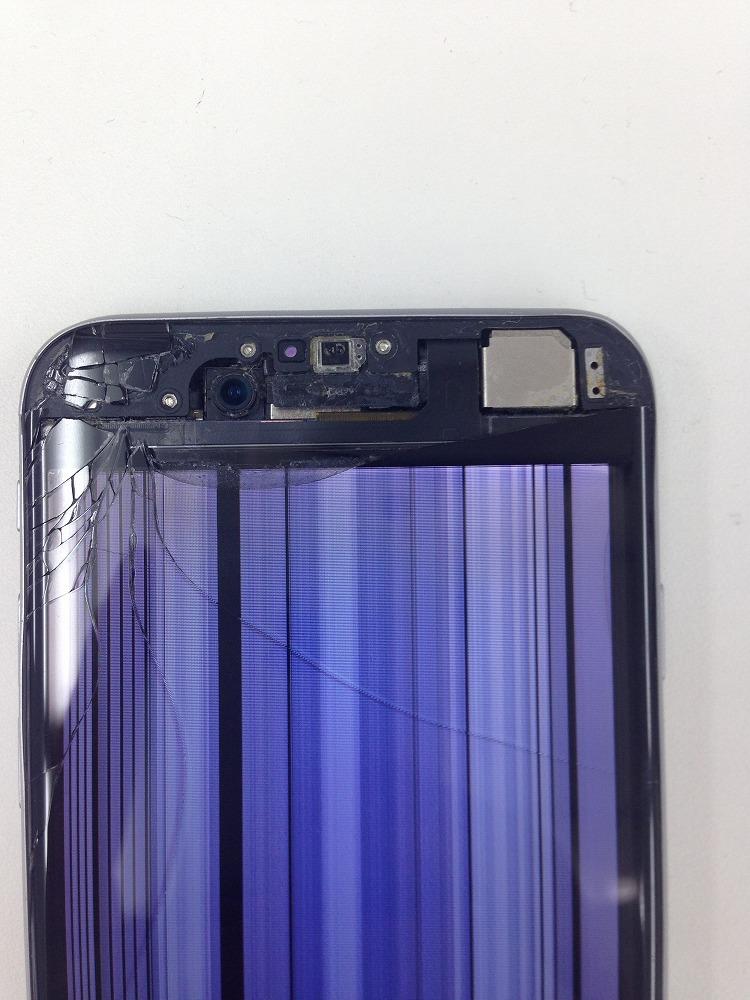 iPhone7 穴開き 液晶表示不良 修理前