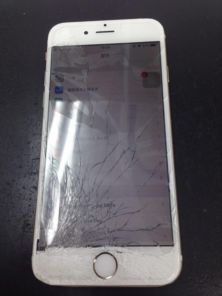 iPhone6画面バッキバキ