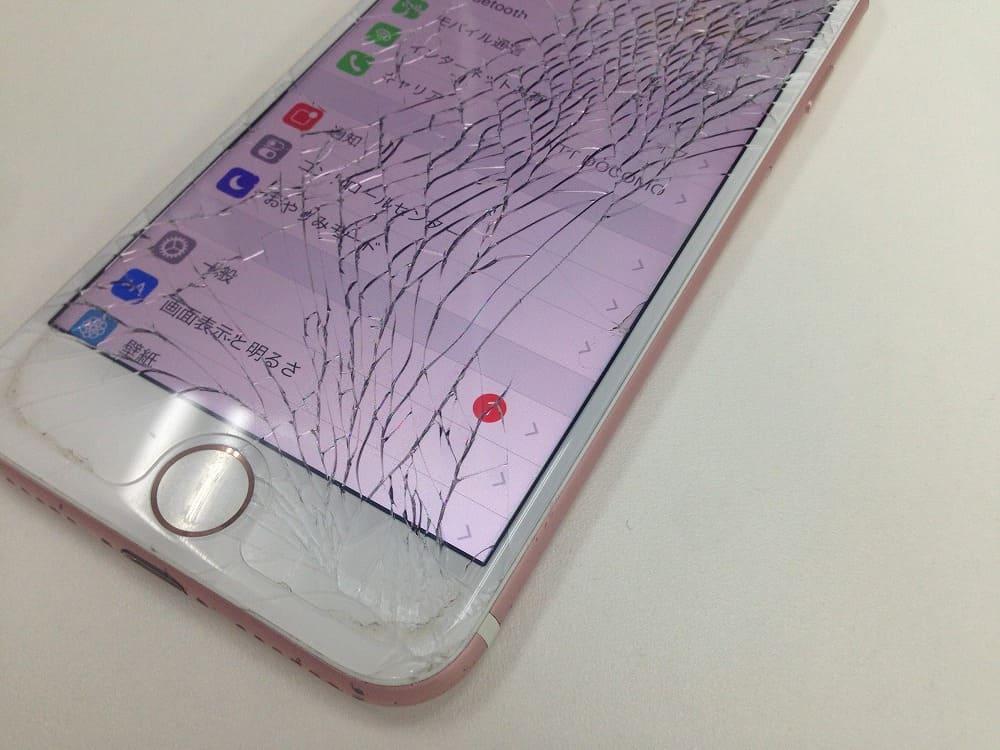 iPhone7ガラス割れバリバリ