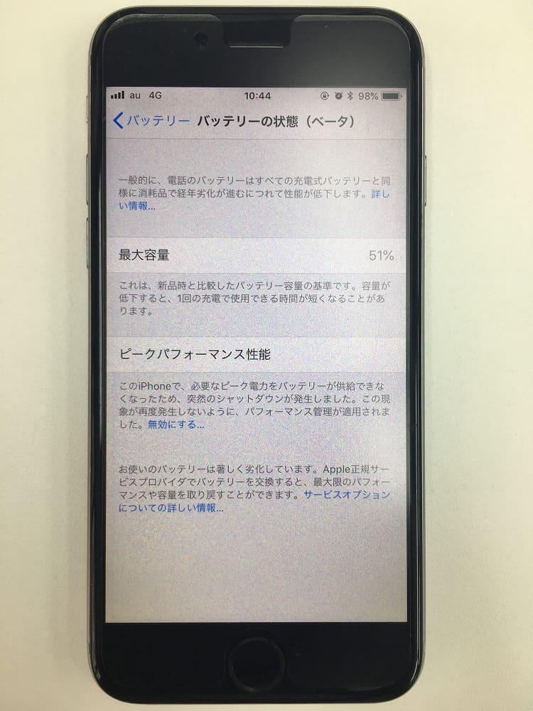 iPhoneバッテリー劣化