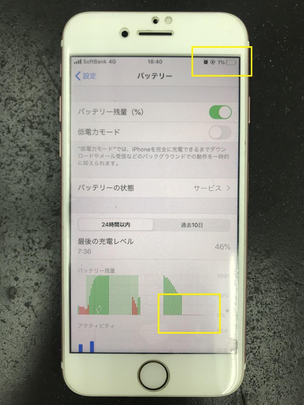iPhone7 残量表示不良 バッテリー交換前