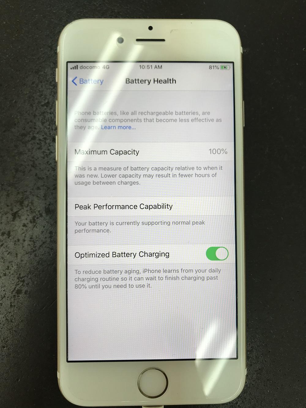iPhone6s電池交換 交換後