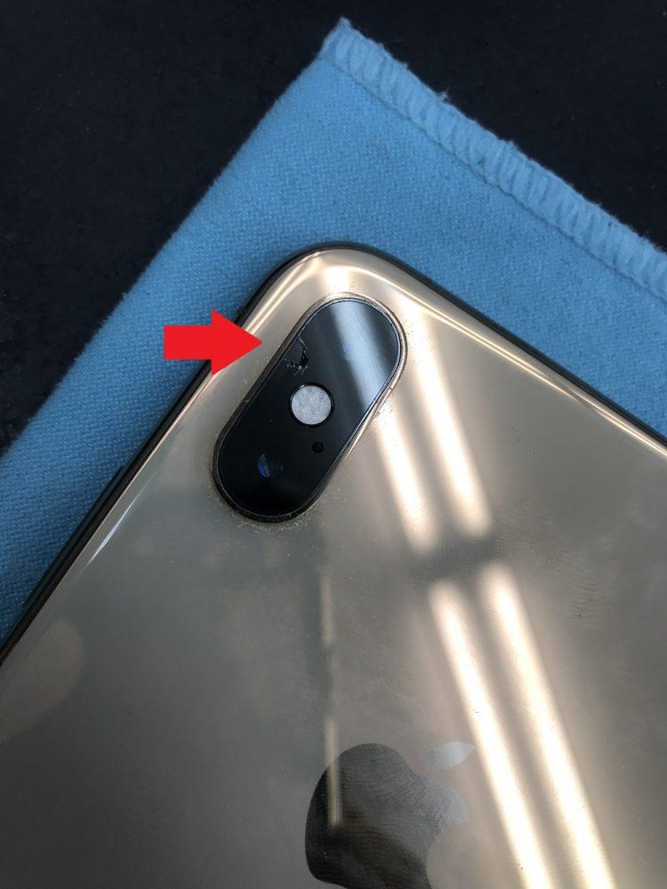 iPhoneXSMaxレンズ欠け 交換前