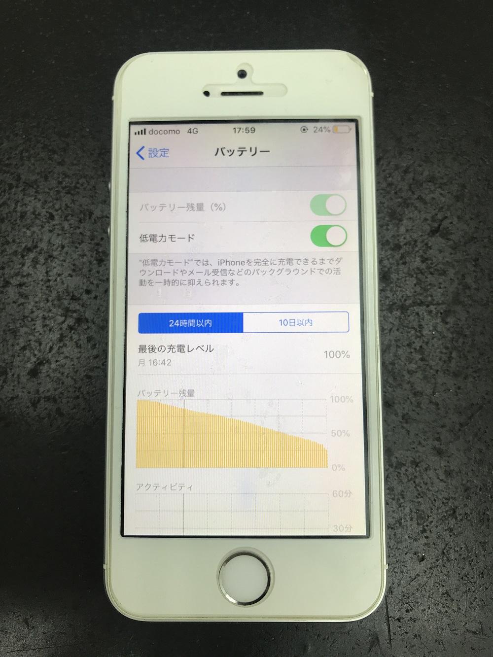 アイフォン5sのバッテリー交換