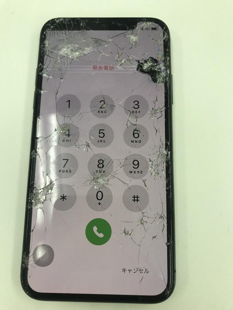 iPhoneX 液漏れ カメラ 修理前